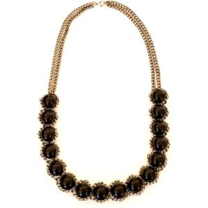 """Silver and Black Statement Necklace 28"""""""